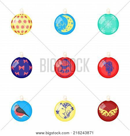 Toys for a Christmas tree cartoon icons in set collection for design.New Year ballsvector symbol stock  illustration.