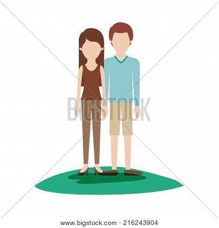 faceless couple colorful scene outdoor and her with t-shirt sleeveless and pants and heel shoes with long straight hair and him with sweater and short pants and shoes with short hair vector illustration