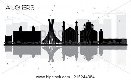 Algiers City skyline black and white silhouette with Reflections. Business travel concept. Cityscape with landmarks.