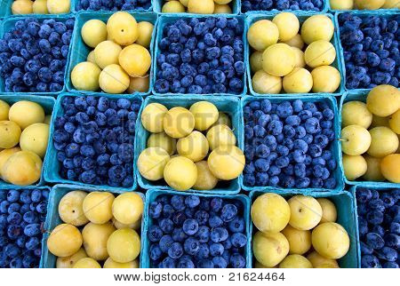 Fresh Blueberries And Plums
