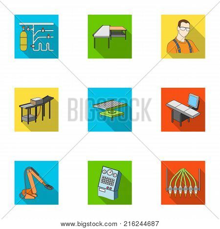 Automotive industry and other  icon in flat style.Automated production systems icons in set collection.