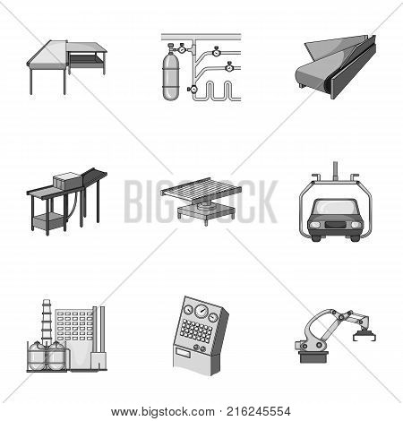 Automotive industry and other  icon in monochrome style.Automated production systems icons in set collection.