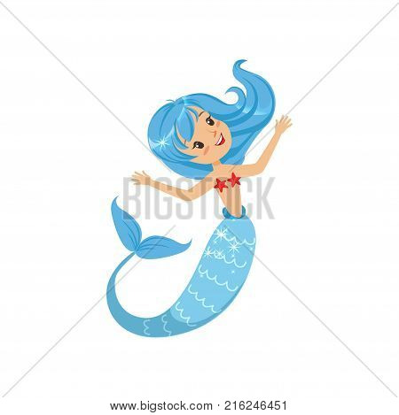 Beautiful little mermaid from underwater world. Cartoon mythical girl with blue hair and fish tail. Sea and ocean theme. Flat vector illustration isolated on white. Design for card, sticker or print.