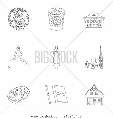 Country, Denmark, sea and other  icon in outline style.Bust, woman, gypsum, icons in set collection.