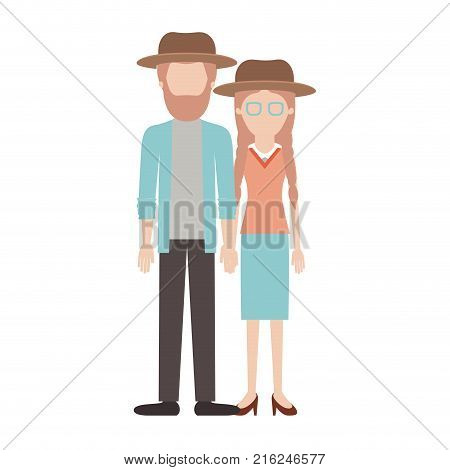 faceless couple colorful silhouette and both with hat and him with beard and shirt and jacket and pants and shoes and her with glasses blouse and skirt and heel shoes with braided hair vector illustration