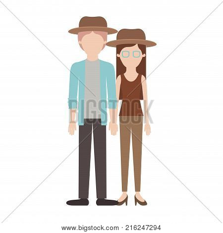faceless couple colorful silhouette and both with hat and pants and him with shirt and jacket and pants and shoes and her with blouse and heel shoes with long straight hair vector illustration