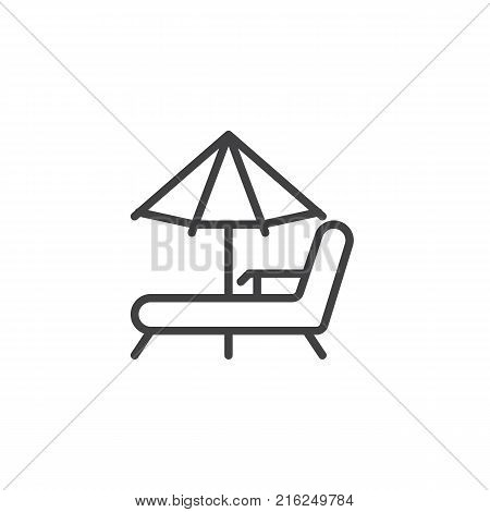 Beach chaise lounges and umbrella line icon, outline vector sign, linear style pictogram isolated on white. Beach parasol and deckchair symbol, logo illustration. Editable stroke