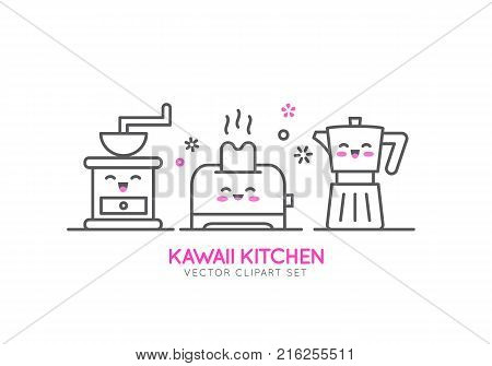 Kawaii Kitchen Appliances Vector Line Template Banner Or Flyer Concept For Shop Sale