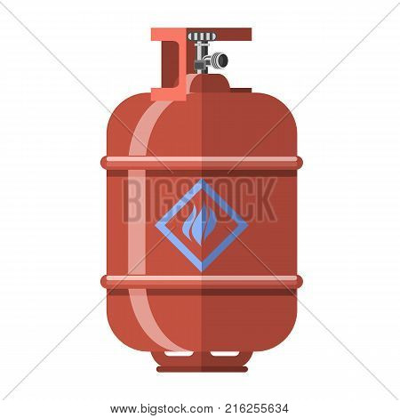 Red Gas Tank Icon Isolated on White Background