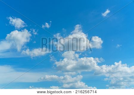 The vast bright blue sky and coulds nature background.
