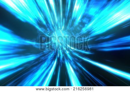 Wormhole though time and space. Travel though this science fiction wormhole at warp speed 3d illustration