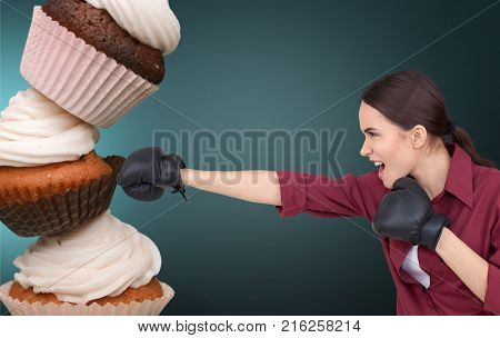 Young food woman fast fight fast food junk food