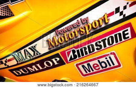 BANGKOK THAILAND - NOVEMBER 26: Motorcycle fairing proudly displays knock off logo stickers of famous motorsport brands in Bangkok on November 26 2017.