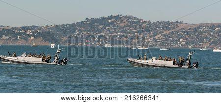 US Coast Guard and 1st responders patrol the San Francisco Ca. bay Oct 8, 2017