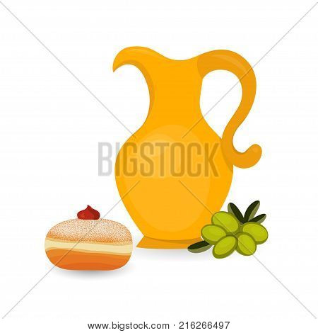 Hanukkah sufganiyah - traditional doughnut and jug isolated on white background, jewish holiday of Hanukkah. Vector illustration