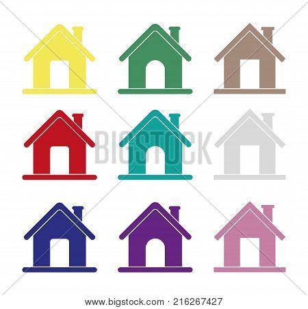 Home web icons, different house icons for internet, vector, homepage