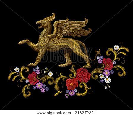 Golden textured embroidery griffin textile patch design. Fashion decoration ornament fabric print. Gold black background legendary mythic fairy baroque flower character lion eagle vector illustration