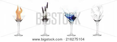 Four elements of fire plant water and air in four martini glasses