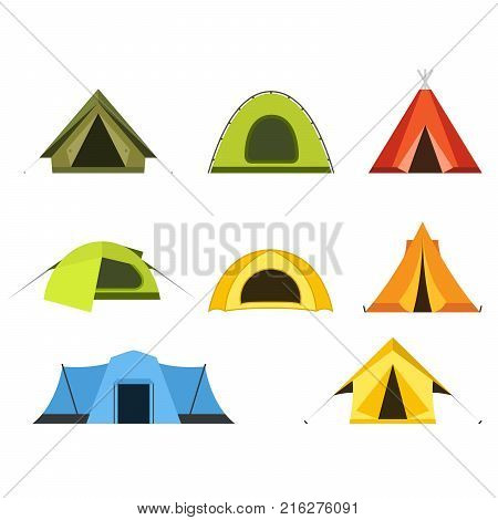 Set of camping tents icon - campsite and tourism putting up a tent