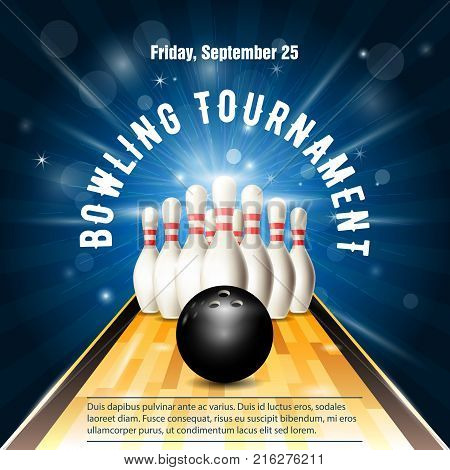 Bowling tournament flyer template with bowling court skittles and ball