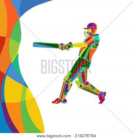 Young Cricketer Is Batsman Bright Summer Colorful Vector Art. Eps 10