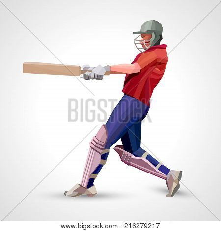 Low polygon style illustration of a cricket player batsman with bat batting set isolated on white. Side view. Eps 10