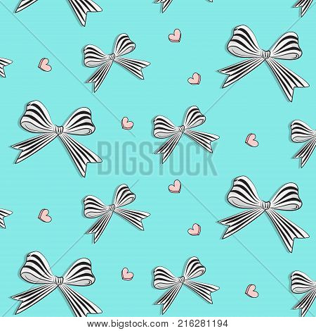 Vector graphic bows with hearts. Cute woman decoration. Striped white black stain bow pattern. Satin gift wrap for holiday, woman day. Present gift wrap.