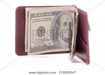 Money dollar clip for money purse on white background isolation