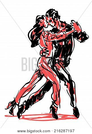 Sketched Dancers in red and black, dancing disign