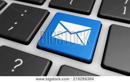 Web contact us and customer newsletter concept with email icon on blue computer keyboard 3D illustration.