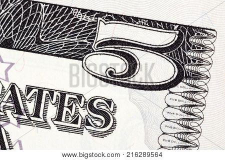 Part of the U.S. five dollar bill. High resolution photo.