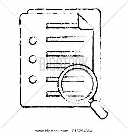 Paper and lupe of document data and archive theme Isolated design Vector illustration