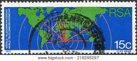 SOUTH AFRICA - CIRCA 1973: A stamp printed in South Africa (RSA), is dedicated to International Telecommunications Day, show World Map and Communications Network, circa 1973