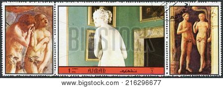 AJMAN - CIRCA 1972: A stamp printed in the Ajman, depicted Sala di Venere, Palazzo Pitti in Florence, circa 1972