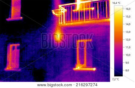 Thermal image photo building color scale, heat dispersion