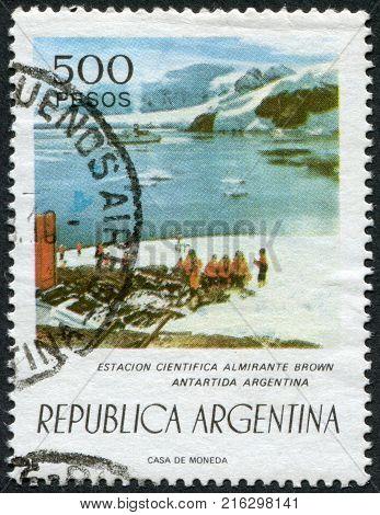 ARGENTINA - CIRCA 1977: A stamp printed in the Argentina, shows the Almirante Brown Antarctic Base, circa 1977