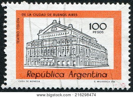 ARGENTINA - CIRCA 1979: A stamp printed in the Argentina, depicts Colon Theater Buenos Aires (Columbus Theatre), circa 1979
