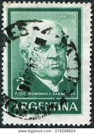 ARGENTINA - CIRCA 1962: A stamp printed in the Argentina, depicts a political leader and writer Domingo Faustino Sarmiento, circa 1962
