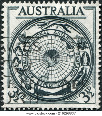 AUSTRALIA - CIRCA 1954: A stamp printed in Australia, shows the Antarctic Flora and Fauna and Map, circa 1954