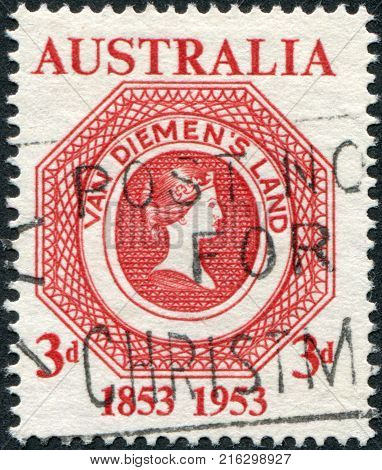 AUSTRALIA - CIRCA 1953: A stamp printed in Australia, is dedicated to the 100th anniversary of the first postage stamps of Tasmania, circa 1953