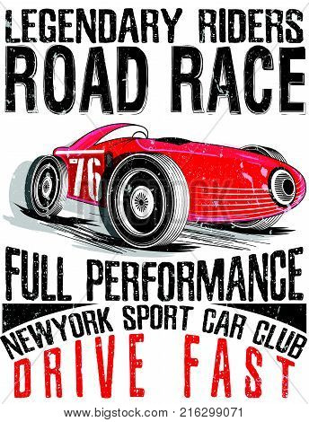 Sports car race. Car for printing.vector old school race poster.