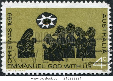 AUSTRALIA - CIRCA 1966: A stamp printed in Australia, is devoted to Christmas, is depicted Adoration of the Shepherds, circa 1966
