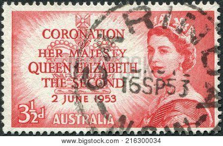 AUSTRALIA - CIRCA 1953: A stamp printed in Australia, is dedicated to the coronation of Elizabeth II, circa 1953