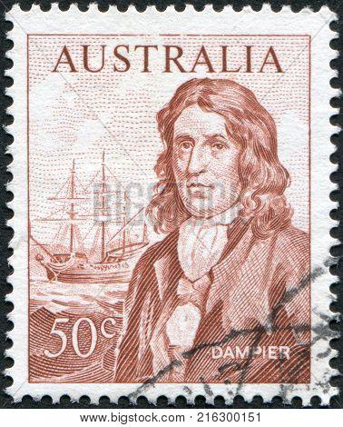 AUSTRALIA - CIRCA 1966: A stamp printed in Australia, shows William Dampier and