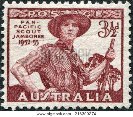 AUSTRALIA-CIRCA 1952: A stamp printed in Australia, dedicated to Pan-Pacific Scout Jamboree, Victoria, portrayed Scout in Uniform, circa 1952