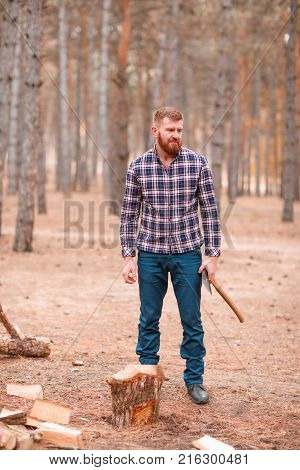 A man with a red beard and hair, in a checked shirt, a woodcutter stands in the woods near the stump, holds an ax in his hands and looks out. Outdoors.