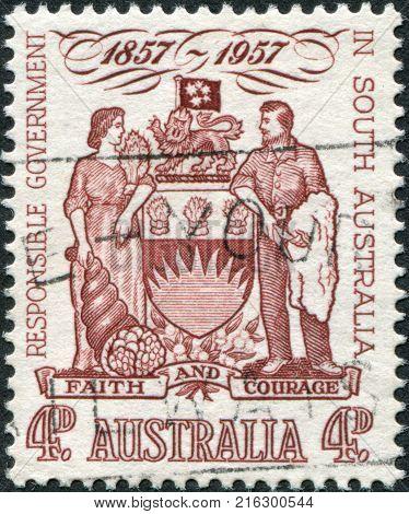 AUSTRALIA-CIRCA 1957: A stamp printed in Australia, represented South Australia Coat of Arms, circa 1957