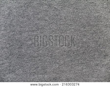 Heather gray cotton and viscose mix sweater knitted fabric texture