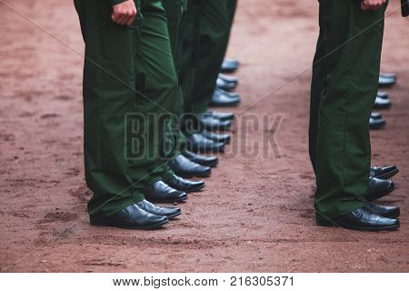 A Formation Line Of Russian Army Soldiers Troops In Military Formation In Uniform With Chevron