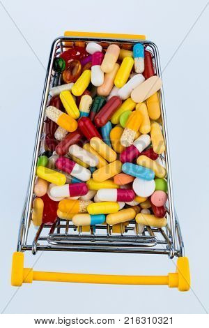 colorful tablets in shopping cart